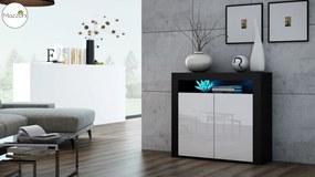 Mazzoni MILA 2D LED skrinka čierny / biely lesk, obývacia izba