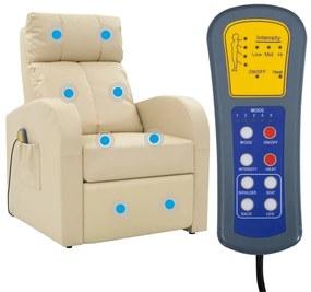 Elektrické masážne kreslo s diaľkovým ovládaním, krémové