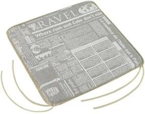 Bellatex Sedák Adela hladký Noviny sivá, 40 x 40 cm