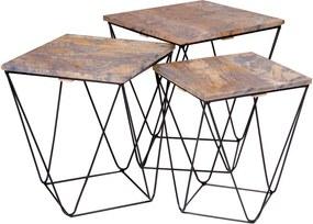 Sada 3 odkladacích stolíkov so sivou doskou z mangového dreva House Nordic Ranchi
