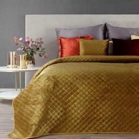 Horčicový zamatový prehoz na posteľ ARIEL 220x240 cm