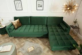 Dizajnová rohová sedačka Adan, tmavozelený zamat - obojstranná