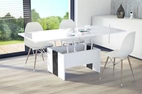 Mazzoni SOLO lesklý - rozkladací, zdvíhací, konferenčný stolík, čiernobiely