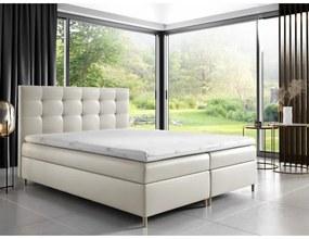 Čalúnená posteľ Alexa s úložným priestororm béžová eko koža 200 x 200 + topper zdarma