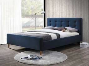 Expedo Čalúnená posteľ PINKY + rošt, 160x200, modrá (granátová)