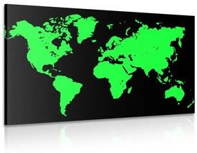 Obraz zelená mapa na čiernom pozadí