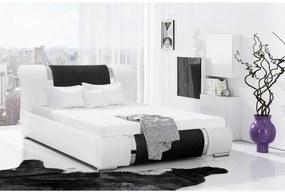 Luxusné jednolôžko Valentina s vysokým čelom a úložným priestorom biela eko koža 140 x 200