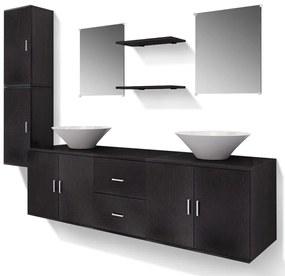 vidaXL 9ks kúpeľňová sada nábytku a umývadla čierna