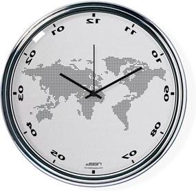 Svetlo šedé zvisle zrkadlené hodiny s mapou