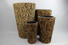 Hnedé kokosové okrúhle kvetináče 4-set