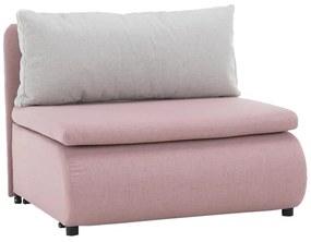 KONDELA Keny New rozkladacie kreslo s úložným priestorom ružová / sivá