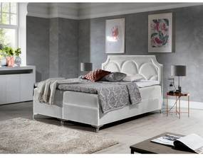 Prepychová posteľ Cassandra 200x200, modrá + TOPPER