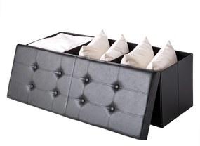 Jurhan Skladacia sedacia truhlica s odklápacím krytom, čierna – 115 x 38 x 38 cm