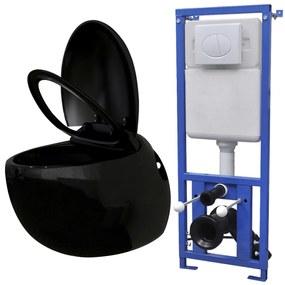 Závesné WC v tvare vajca s podomietkovou nádržou, čierne