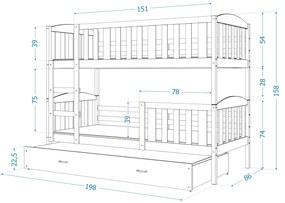 GL Jakub 3 Color biela poschodová posteľ s prístelkou Farba: Sivá, Rozmer: 190x80