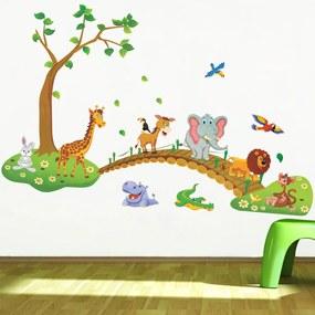 Veselá Stena Samolepka na stenu na stenu Zvieratká zo Zoo na prechádzke