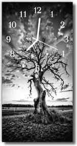 Sklenené hodiny vertikálne  Nature Tree Čierna a biela