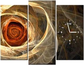 Tlačený obraz s hodinami Ruža fraktál 90x70cm ZP1479A_3C
