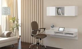 WIP PC stolík visiaci Uno biely / biely lesk Uno: zavesný pc stolik + polica