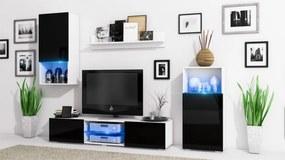 Obývacia stena LOFT Biely mat / Čierny lesk