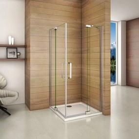 Obdĺžnikový sprchovací kút AIRLINE R109, 100 × 90 cm, s dvomi jednokrídlovými dverami s pevnou stenou, rohový vstup