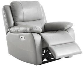 Relaxačné kreslo s elektrickým polohovaním, koža/ekokoža sivá VIVAN