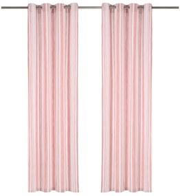 vidaXL Závesy s kovovými očkami 2 ks bavlna 140x245 cm ružové prúžky