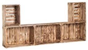 Drevobox Drevené opálené debničky obývacia stena 79x180x24 cm