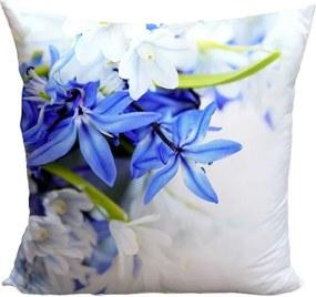 Vankúš Modré a biele kvety (Veľkosť: 55 x 55 cm)