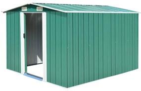 vidaXL Záhradná kôlňa 257x298x178 cm kovová zelená