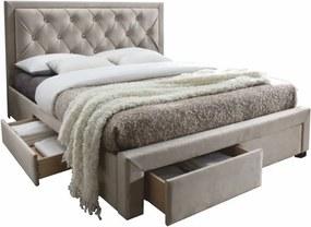 Sivohnedá manželská posteľ PREMIUM 160 x 200 cm