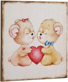 Bighome - Ceduľa TEDDY BEARS WITH A HEART - béžová