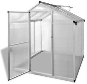vidaXL Spevnený hliníkový skleník so základným rámom 3,46 m²