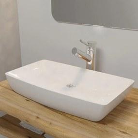 Luxusné keramické umývadlo, obdĺžnikový tvar, biele, 71 x 39 cm