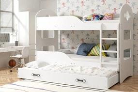 Poschodová posteľ s prístelkou DOMINIK 3 - 160x80cm Biely - Biely