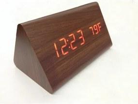 Drevené LCD hodiny s dátumom, budíkom a teplotou Svetlo hnedá