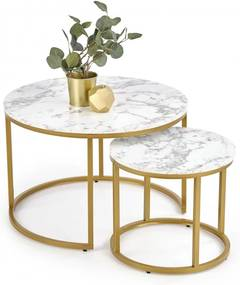 Odkladacie stolíky PAOLA 2 ks mramor / zlatá Halmar