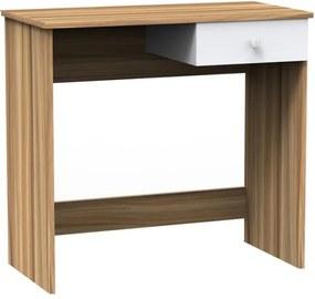PC stôl, orech/biela, BISE