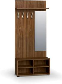 Vešiaková stena s botníkom a zrkadlom, 4 háčiky, polica, orech