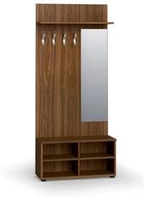 Vešiaková stena s botníkom a zrkadlom PRIMO, 4 háčiky, polica, orech