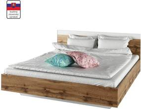 TEMPO KONDELA Gabriela 160 manželská posteľ dub wotan / biela