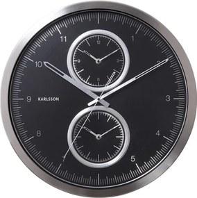 KARLSSON Nástenné hodiny Multiple Time čierne