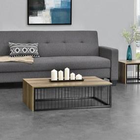 [en.casa]® Moderný konferenčný stolík - MDF doska - kovový rám - imitácia dreva - 100 x 60 x 30 cm
