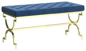 vidaXL Lavička 99 cm, modrá, zamat a nehrdzavejúca oceľ