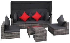 vidaXL 23-dielna vonkajšia sedacia súprava, polyratan, sivá