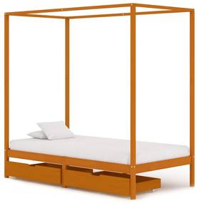 vidaXL Posteľný rám, baldachýn, 2 zásuvky, borovicový masív 90x200 cm