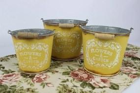 Žlté plechové vintage vedierka 3-set