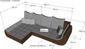 Rohová sedacia súprava Hugo OTM-2F, biela ekokoža / sivá látka