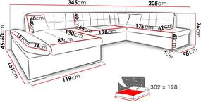 Luxusní sedačka ve tvaru U Bravo, bílá/šedá  Roh: Orientace rohu Pravý roh