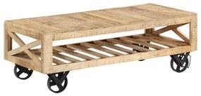 vidaXL Konferenčný stolík s kolieskami mangovníkové drevo 110x50x37 cm
